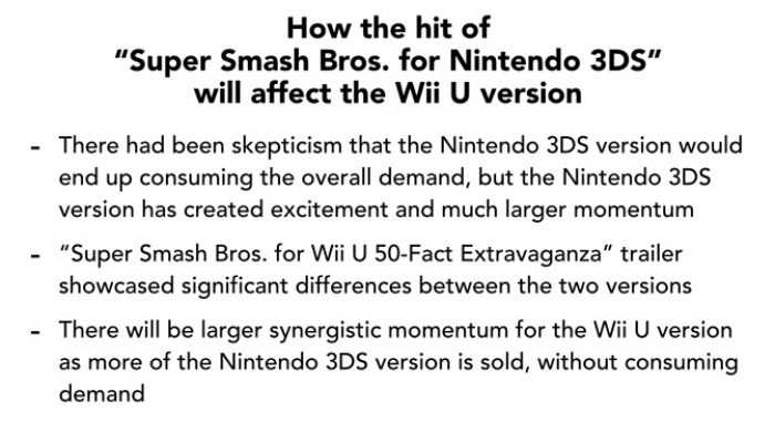 Nintendo Q2 FY3/2015 Corporate Management Policy Briefing, Part 9: Synergistic Effect of Smash Bros. for 3DS and Wii U