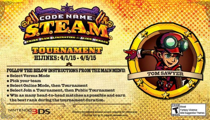 Tom announces the first Code Name S.T.E.A.M. HIJINKS online tournament on Miiverse