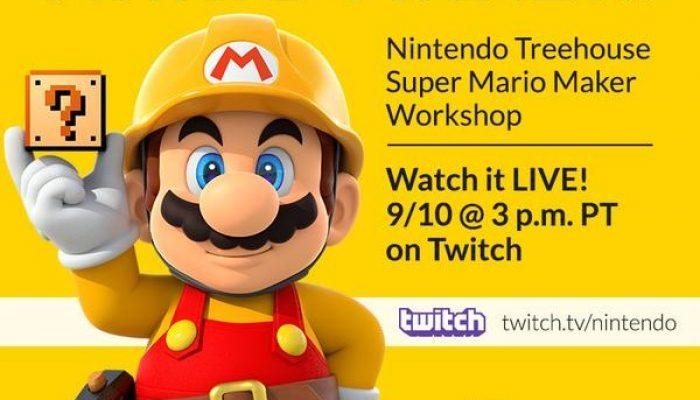Nintendo Treehouse: Super Mario Maker Workshop on September 10, 3 PM Pacific