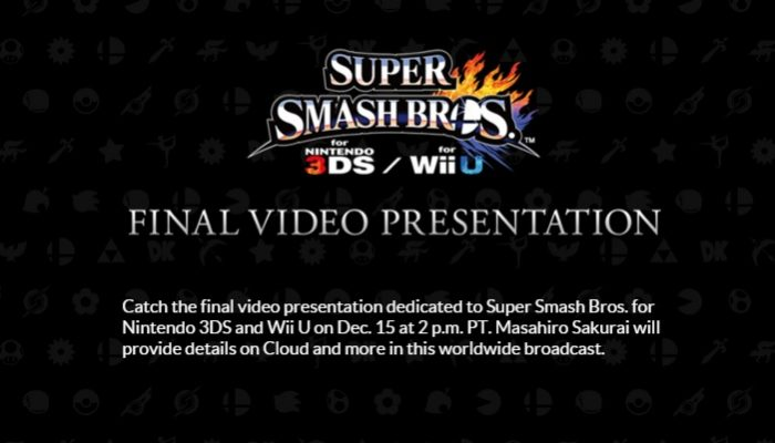 Final Super Smash Bros. 4 Direct set for December 15 at 2 PM Pacific