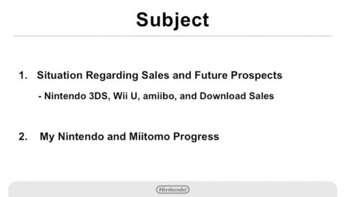 Nintendo Q3 FY3/2016 Financial Results Briefing, Part 1: Introduction