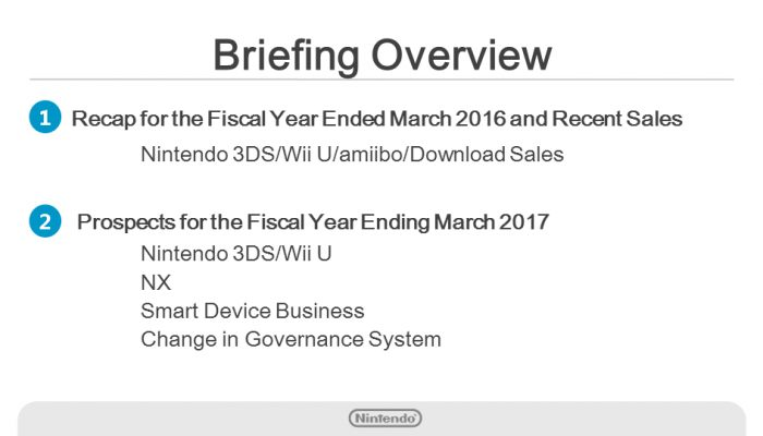Nintendo FY3/2016 Financial Results Briefing, Part 1: Introduction