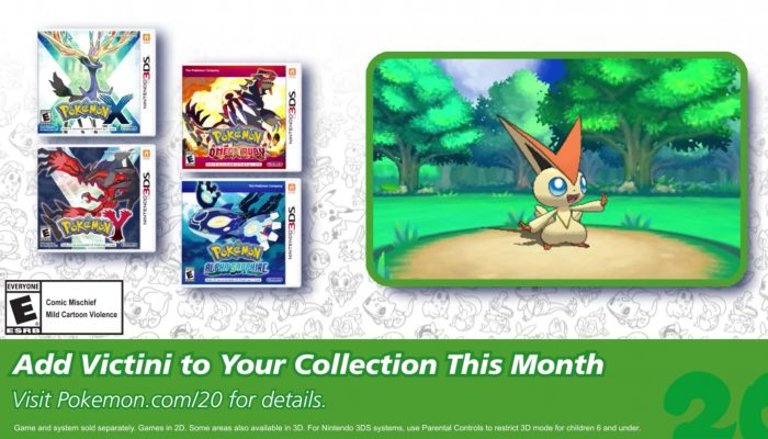 Pokémon XY and ORAS – Celebrate #Pokemon20 with the Mythical Pokémon Victini!