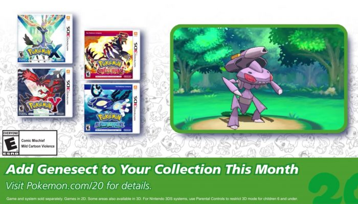 Pokémon XY and ORAS – Celebrate #Pokemon20 with the Mythical Pokémon Genesect!