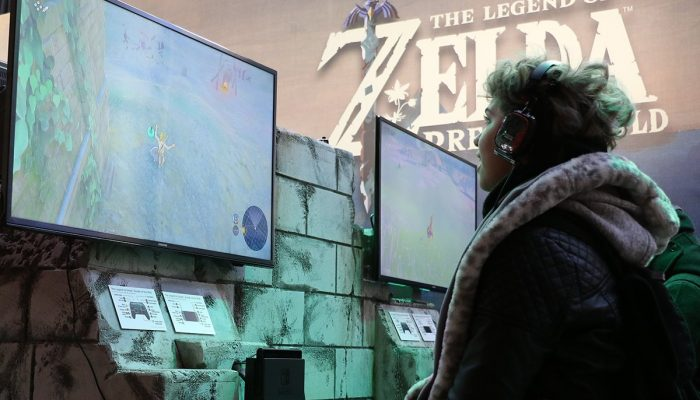 Pictures of gamers playing at the NYC Nintendo Switch Preview Tour