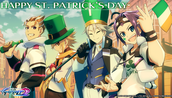 Inti Creates: 'Azure Striker Gunvolt 2 DLC & St. Patrick's Day Wallpaper Now Available'