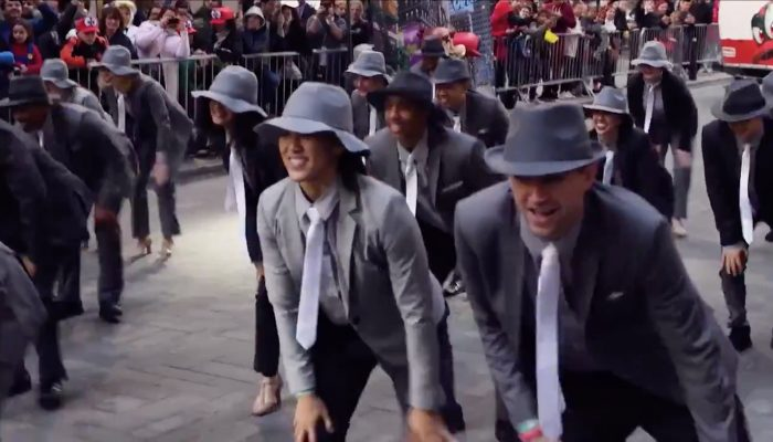 "Here's a glimpse at the ""Jump Up, Super Star!"" dance number in New York City"
