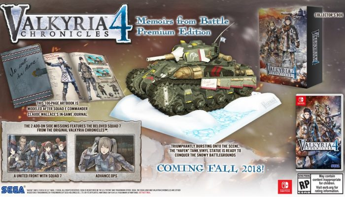 Valkyria Chronicles 4 gets a Memoirs from Battle Premium Edition on Nintendo Switch