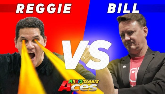 Reggie Fils-Aimé taking on Bill Trinen in Mario Tennis Aces at E3 2018
