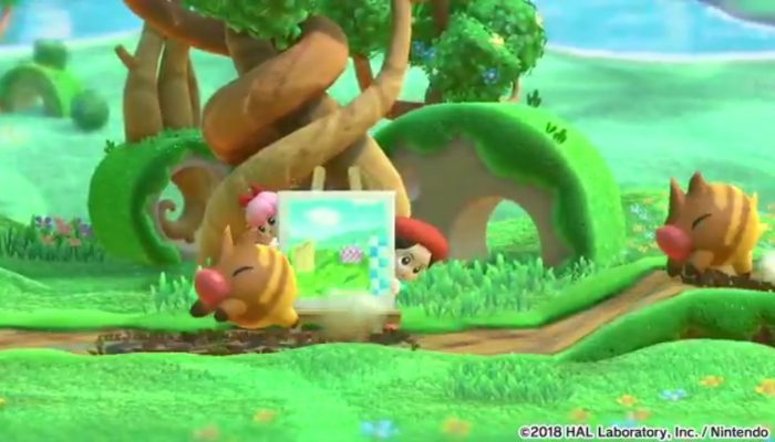Adeleine & Ribbon gameplay in Kirby Star Allies