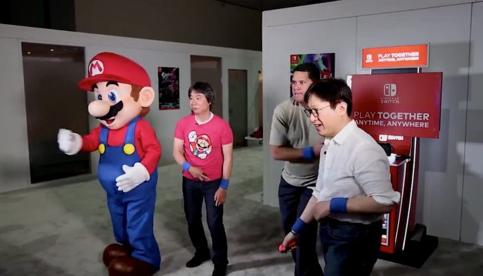 Reggie and Mr. Takahashi vs. Mario and Mr. Miyamoto in Mario Tennis Aces