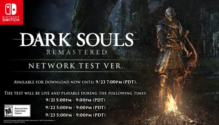 Dark Souls Remastered Network Test on Nintendo Switch from September 21 to September 23