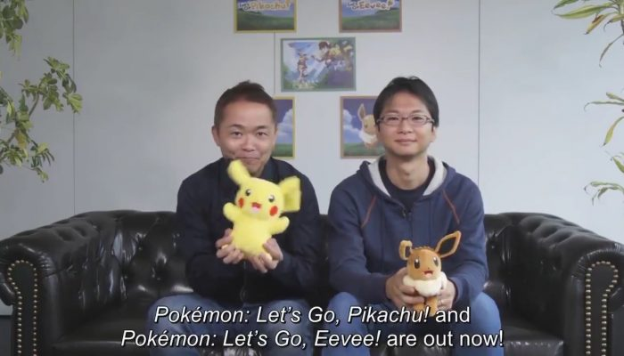 Junichi Masuda and Kensaku Nabana share the love for the launch of the Pokémon Let's Go games
