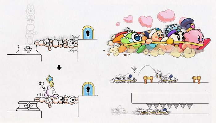 Kirby Star Allies Friend Action sketches from development