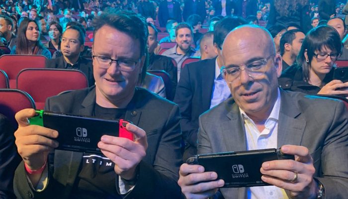 Bill Trinen and Doug Bowser switching it out at The Game Awards 2018