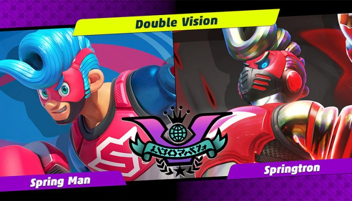 NoA: 'Get ready for Party Crash Bash! Choose your corner, as Spring Man faces off against Springtron.'
