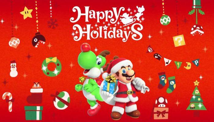 Mario and Yoshi wishing you happy holidays