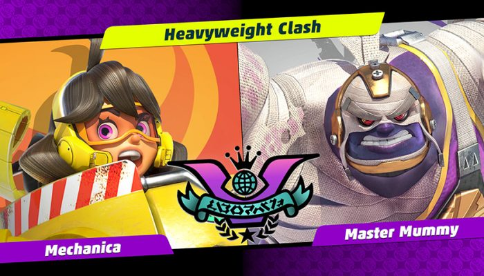 NoA: 'Heavyweights face off in the next Party Crash Bash! Choose your corner, as Mechanica and Master Mummy collide!'