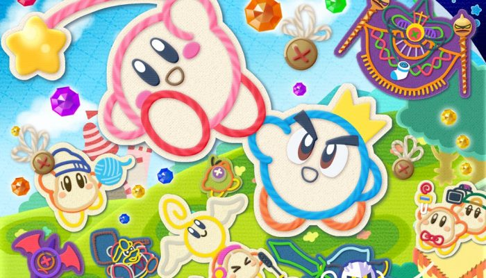 An artwork to celebrate the launch of Kirby's Extra Epic Yarn