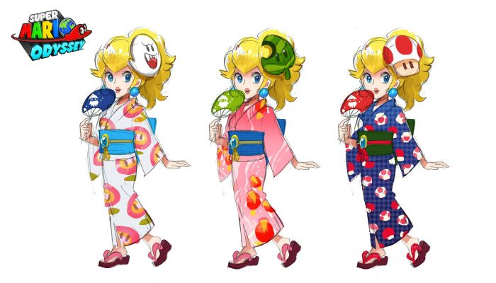 A look at rough sketches of Peach in a yukata for Super Mario Odyssey