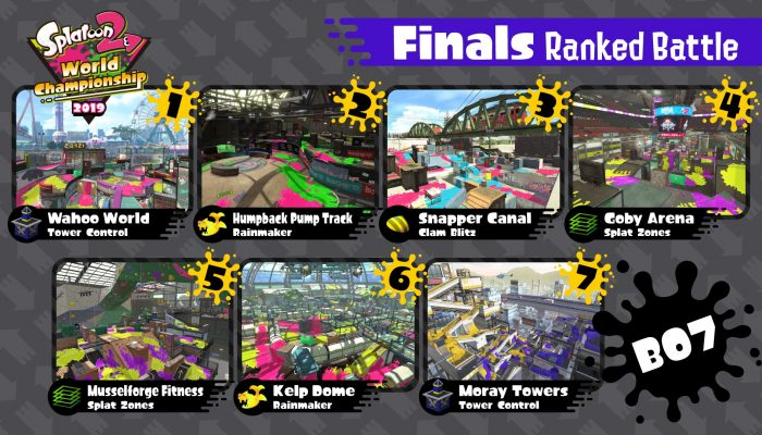 Here are the maps and modes for the Splatoon 2 World Championship 2019