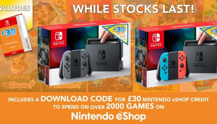 NoE: 'Get £30 Nintendo eShop credit with a special Nintendo Switch bundle!'
