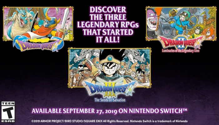 Dragon Quest I, II and III launching September 27 on Nintendo Switch